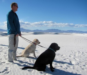 Rod and dogs at White Sands, New Mexico